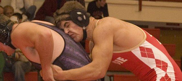 Jonas Myers, 215-pound Tonganoxie High wrestler, finished third at Holton on Saturday.