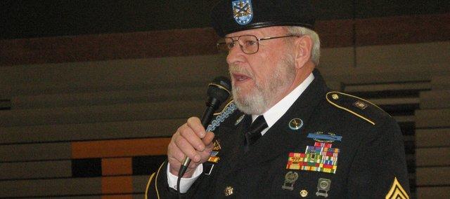 Five Basehor veterans spoke Wednesday at an all-school assembly at Basehor-Linwood High School.