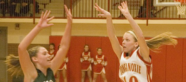 Lauren Hall releases a three-pointer for Tonganoxie High in the team's 60-44 home victory over De Soto on Jan. 26.