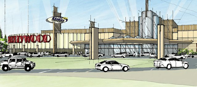 A conceptual design of the main entrance to the Hollywood Casino at Kansas Speedway.
