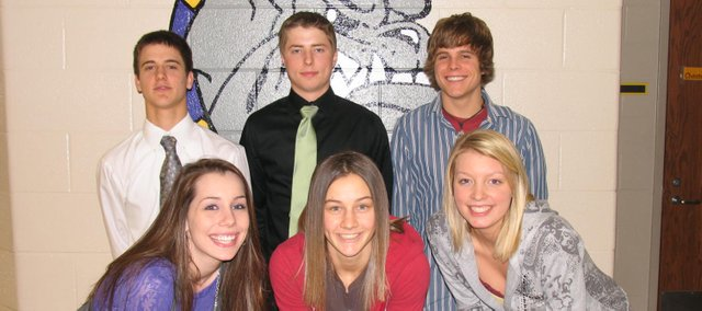 Royalty will be crowned at halftime of Friday's McLouth-Kansas City Christian boys basketball game. Pictured front row, from left, are queen candidates Cassidy Bristol, Missy Rome and Kylie Shufflebarger; back row, from left, are king candidates Cole Batman, Tyler Drinnon and Kenneth Thompson.