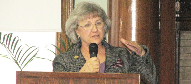 Kansas Rep. Connie O&#39;Brien speaks at Friday at the first of the Leavenworth County chambers of commerce legislative updates.