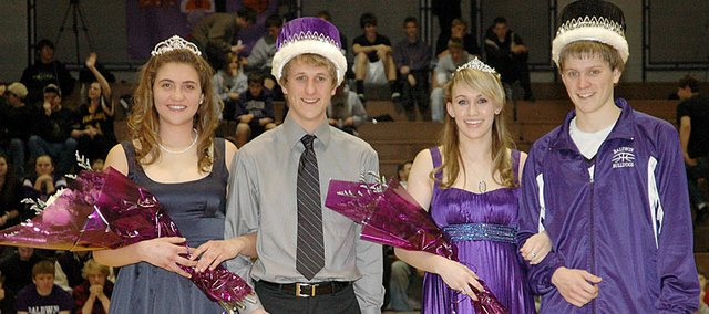 Baldwin High School celebrated its 2010 Winter Royalty Friday night. The senior class winners for queen and king, from left, were Anna Baughan and John Grosdidier. The junior class winners for princess and prince were Ally Foye and Kyle Pattrick. The BHS girls beat Louisburg 50-45, while the BHS boys lost 57-41.