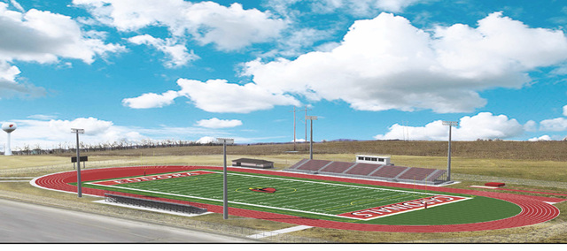 Plans for a Eudora USD 491 district stadium are seen. The stadium would sit just west of Eudora High School. 