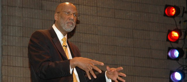 Terrence Roberts, former member of the Little Rock Nine — a group of nine black students who in 1957 braved daily harassment in order to attend school with white students, spoke about his experience Wednesday morning at Kansas City Kansas Community College campus.