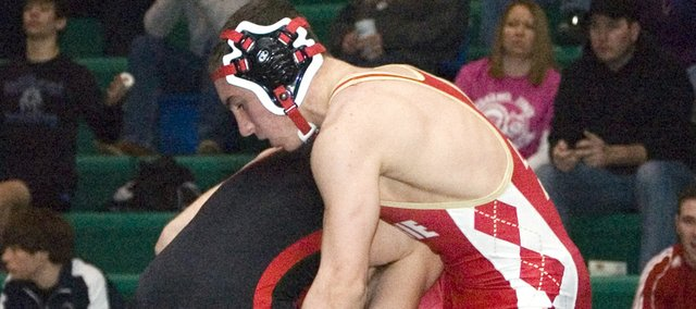 Tonganoxie High freshman Britton Price (135) picked up his second victory at the Class 4A regional in De Soto in the second round of the consolation bracket.