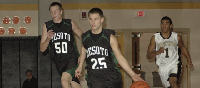 Dylan Burford (25) is one of five seniors on the De Soto boys basketball team. The Wildcats will play Louisburg at 7:30 p.m. Friday in De Soto. De Soto will open sub-state play  next week.
