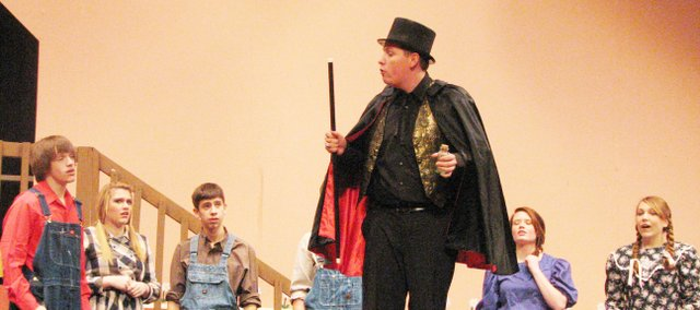 "Basehor-Linwood High School students perform the western melodrama ""Snake in the Grass"" for their winter play."