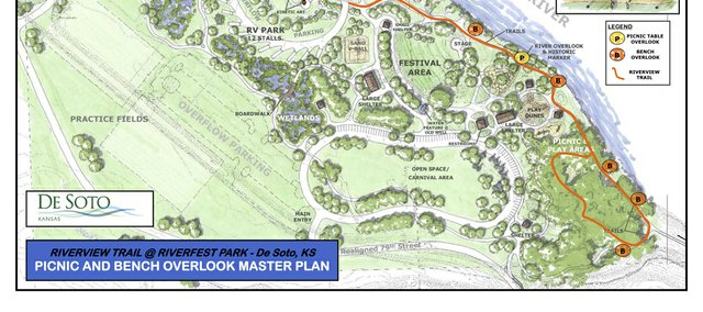 De Soto city staff is proposing a series of park bench and picnic table nodes to be placed along a proposed trail at Riverfest Park.