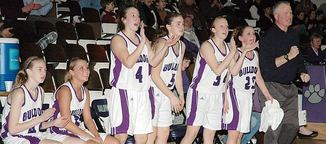 Members of the Baldwin High School girls' basketball team cheer after a layup by freshman Katie Kehl during the second half of their 53-27 win over De Soto Tuesday night. Pictured, from left, are freshman Monica Howard, junior Myranda Behrens, senior Rachael Enick, junior Allison Howard, senior Taylor Brown, freshman Kailyn Smith and coach Bob Martin.