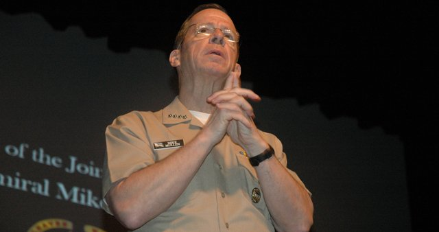 "Adm. Mike Mullen, chairman of the Joint Chiefs of Staff, speaks Thursday morning in the Eisenhower Auditorium of the Lewis and Clark Center at Fort Leavenworth. Topics he discussed ranged from how to be effective leaders to President Barack Obama's proposed lifting of the ""Don't Ask, Don't Tell"" policy."