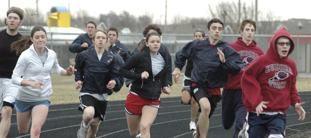 Members of the Eudora track team run last week at track practice. There are about 70 athletes out for track this year. Eudora's first meet of the year is March 31 at Wellsville.