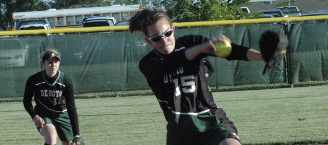 De Soto  senior Katie Williams (15) was a second-team All-League pitcher last year and will serve as De Soto's ace again this season. The Wildcats open the season March 30 at St. James.