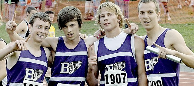 All former Kansas high school state track and field champions, like the 2008 Baldwin High School boys' 1,600-meter relay team, are invited to attend the state meet May 28-29 in Wichita for a 100-year celebration.