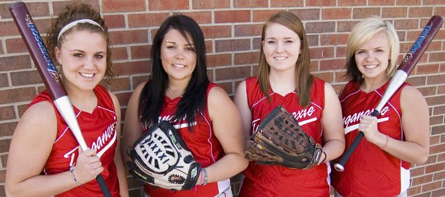 Tonganoxie High softball seniors Lindsey Fatherley, Angela Jacobs, Nikki Pennington and McKenzie Knight lead a fit and ready group of Chieftains into the 2010 season.