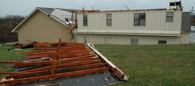 The roof of the First Pentecostal Church, 94 S. 130th St., Bonner Springs, was blown off during Friday morning's storm.