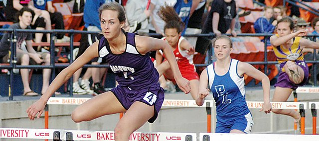Baldwin High School junior Lyndsey Lober won the 100-meter hurdles to help the Bulldogs win their home track and field meet Thursday.