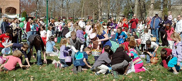 Rainbow Experience Preschool held its annual Easter Egg Hunt and Silent Auction Saturday morning on Baker University's campus. The event drew its annual large crowd as families enjoyed the nice weather.