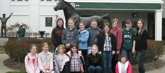 The Johnson County 4-H Horse Club went to Kentucky over spring break. Pictured are, top row from left,  Anna Long, Tate Drees, Grace Freeman, Tristen Richardson, Natalie McCracken, Mikaela Rief, Abbie Herman, Selena Lopez. Bottom row from left, Emma Jones, Collette Shields, Faith Wakefield, Brynn McCracken, Holly Drennon, Britney Boyle.