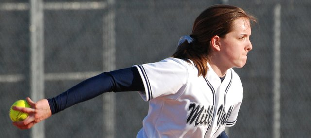 Mill Valley sophomore Jillian Jobe prepares to fire a pitch during the Jaguars' 5-3 victory against Lansing on Thursday. Jobe improved her season record to 3-0 with the victory.