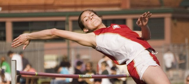 Tonganoxie High freshman Jenny Whitledge won the high jump at the Bobcat Relays on Friday with a mark of 5-4. Her first-place finish was one of 15 for THS athletes at Basehor-Linwood as the Chieftains' girls and boys won team titles.
