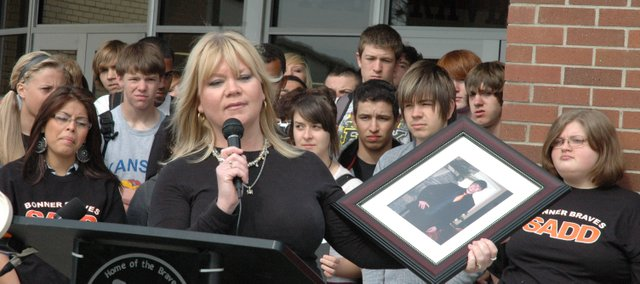"Amy Marrs, a mother from Pittsburg whose son Brandon was killed in a 2008 car crash, spoke Friday to a group of Bonner Springs High School students. Her speech was part of the Mobile ""EYES"" youth driving safety campaign that recently began in five states in the Midwest."