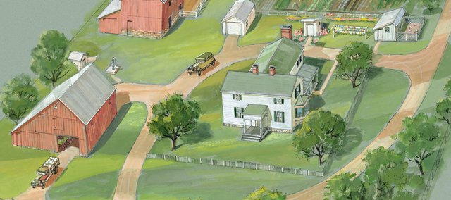 This rendering depicts the new farmstead at Shawnee Town. Work on the farmstead is scheduled to include relocating the Hart Home and reconstructing the rear portion of the home, relocating the Bender Barn and smokehouse and constructing a market shed and other small farm structures. Shawnee City Council members on Monday awarded a bid to The Konrath Group, Kansas City, Mo., for work on the project.