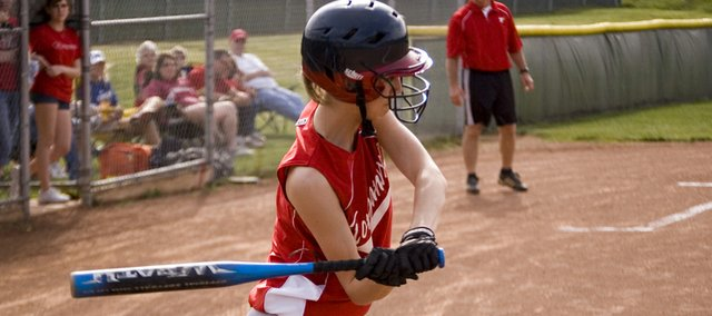 Brooklyn Kerbaugh takes a swing in this Mirror file photo. Tonganoxie High improved to 5-5 on the season with victories of 8-2 and 5-2 on Tuesday at Turner, in Kansas City, Kan.