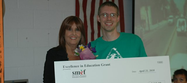 Bluejacket-Flint teacher Lucas Shivers received a $2,415 grant to purchase more video cameras and updated computer software for editing from the Shawnee Mission Education Foundation.