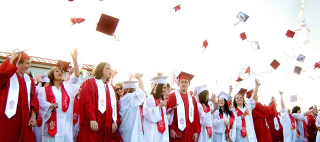 The Class of 2010 will throw 151 hats in the air Saturday when it joins these 2009 graduates as Tonganoxie High School alumni.