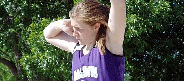 Baldwin High School freshman Katie Kehl broke her own school shot put record Friday at Wellsville. Kehl threw 40-feet, 9 inches to set the new mark and win the meet.
