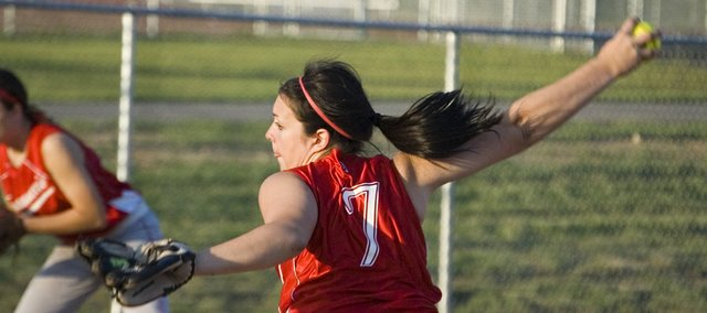 Tonganoxie High senior Angela Jacobs threw all seven innings of the team's 3-1, first-round victory over Atchison on Tuesday. The Chieftains followed the regional playoff victory with a 3-0 loss to Perry-Lecompton in a semifinal.