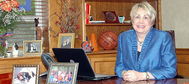 Baker University President Pat Long will be the keynote speaker at Sundays graduation of the Baldwin City campus. It will be the first class to graduate with Long at the helm all four years. The stained-glass Wildcat at left was made by those students for her.