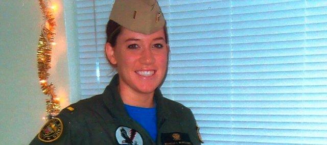 Michelle McWilliams poses in naval attire.