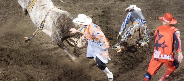 Scene from the 2009 Abdallah Shrine Rodeo in Tonganoxie.