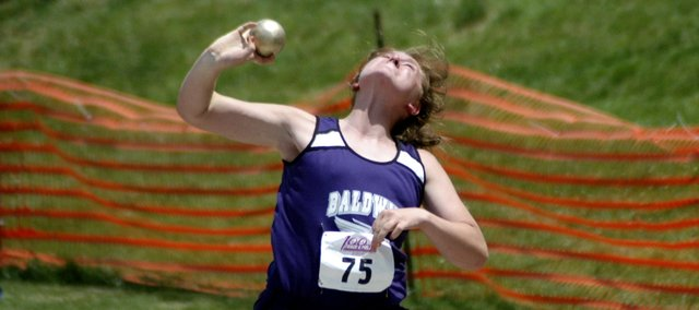 Baldwin High School freshman Katie Kehl placed third in the shot put at the state meet Friday. She also broke her own school record with her throw of 41 feet, 5.5 inches.