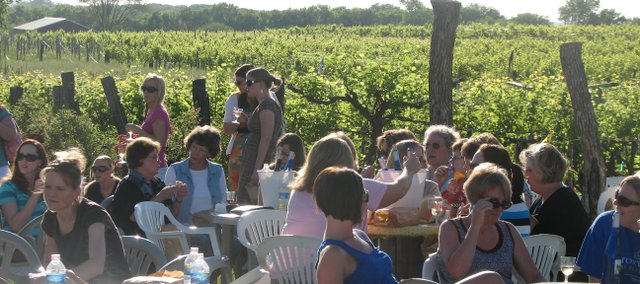 A group of women mingle Thursday, May 27 during Ladies Night at Holy-Field Vineyard and Winery. The charity event raises money for Safe Harbor Prison Dog program.