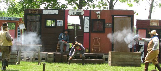 Gunsmoke and Petticoats performs a western show during the 2010 Basehor Dairy Days.