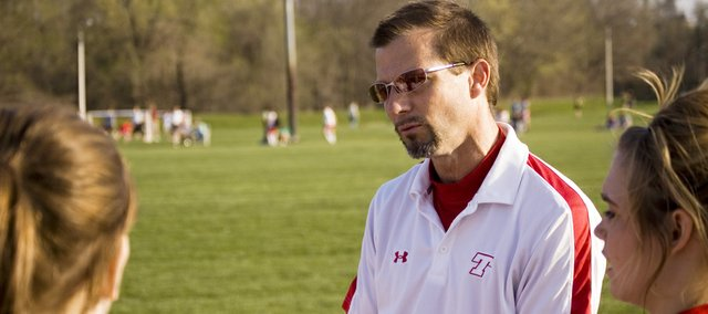 Ken Lott addresses the Tonganoxie High girls soccer team in this Mirror file photo from this past April. Lott said he will not be back as head coach of the THS girls or boys programs after administrators informed him they wanted to go in another direction.