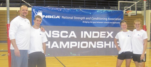 Basehor-Linwood strength and conditioning coach Ross Schwisow, left, BLHS junior Brady Blackwood, BLHS freshman Kara Stephens and BLHS junior Melissa Seaman are pictured at the NSCA Index Championships in Colorado Springs, Colo. The students competed to see where they ranked among the best all-around athletes under age 20 in the United States.