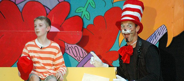 Baldwin City's Drew Cheek, left, and Scott Schoenberger share the stage as JoJo and the Cat in the Hat during Seussical the Musical on Friday night.