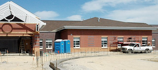 Work progresses on the new Baldwin Elementary School Primary Center on the west edge of town. Whether or not the school will open for the first day of school is still uncertain.