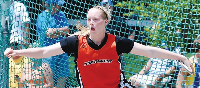 Erica Brand, Shawnee Mission Northwest senior, prepares to unleash a throw in the discus at the 2010 Kansas Track and Field State Championships. Brand won her second straight state title in the event, and she will compete next year at Duke University.