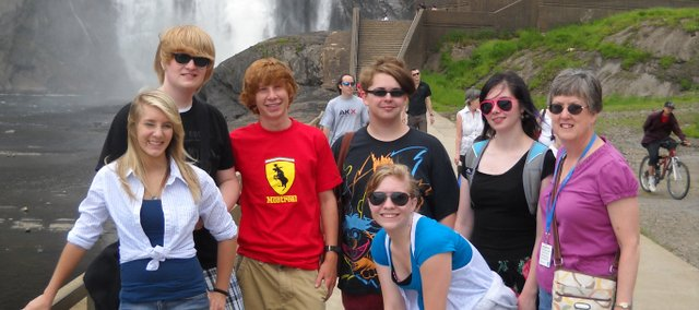 A group of Bonner Springs High School students visit Montmorency Sea Falls in Quebec City, Canada, during a recent trip with their French teacher Marsha Nelson. In addition to Quebec City, the group also visited Montreal. Pictured are (from left):Christa Ward, Zachary Reed, Spencer Bush, Jacob Palmer, Lindsey Baska, Victoria Porter and Nelson.
