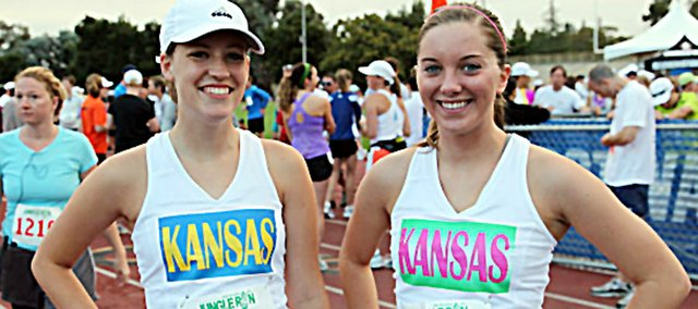 Molly Bostwick, left, and Julie Hill show their excitement before the 13.1-mile race in San Jose, Calif. The pair of 2010 Baldwin High School graduates enjoyed the experience.