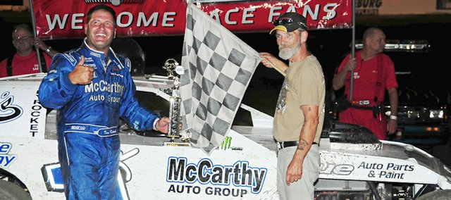 "Tim Karrick celebrates a win at the Lakeside Speedway. Karrick was one of four Lakeside drivers who were featured in the Discovery Channel series ""Heartland Thunder."""