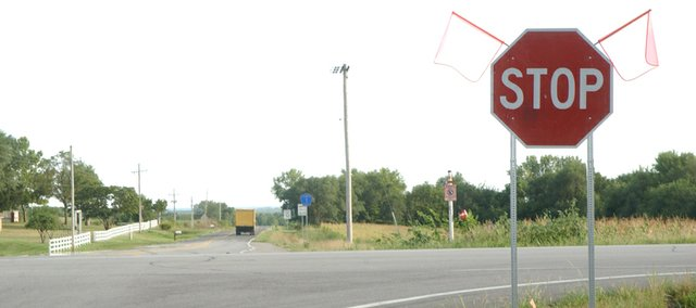 The Kansas Department of Transportation has approved placement of a larger stop sign and other changes at the Kansas Highway 32/Leavenworth County Road 1 intersection