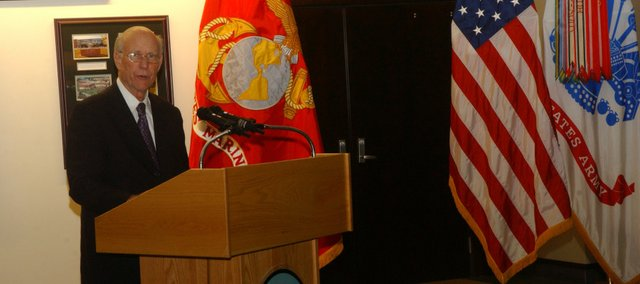 Sen. Pat Roberts, R-Kan., speaks at a ceremony Friday at Fort Leavenworths Louis and Clark Center renaming the Trophy Lounge for the senator. Roberts worked to secure funding for the center, home of the Armys Command and General Staff College since 2007.