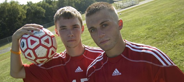 Quinten Olson and Jake Willis are the only seniors on the Tonganoxie High boys soccer team. With the help of new head coach Brian Kroll, they're hoping for a successful season.