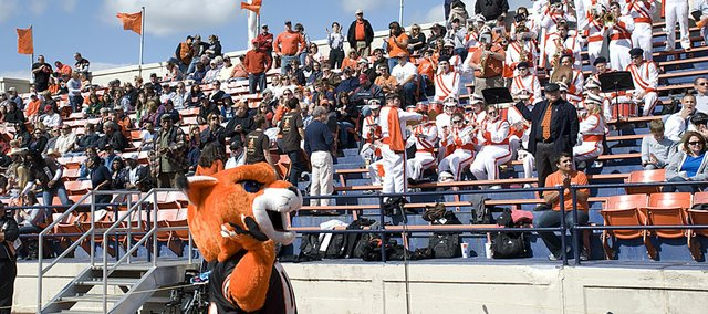 WOWzer, the Wildcat mascot, pumps up the crowd at Liston Stadium during a football game last season. The Wildcats home opener is Sept. 4 against MissouriValley.